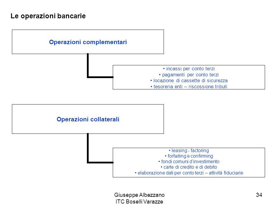 Giuseppe Albezzano ITC Boselli Varazze 34 Le operazioni bancarie Operazioni complementari incassi per conto terzi pagamenti per conto terzi locazione