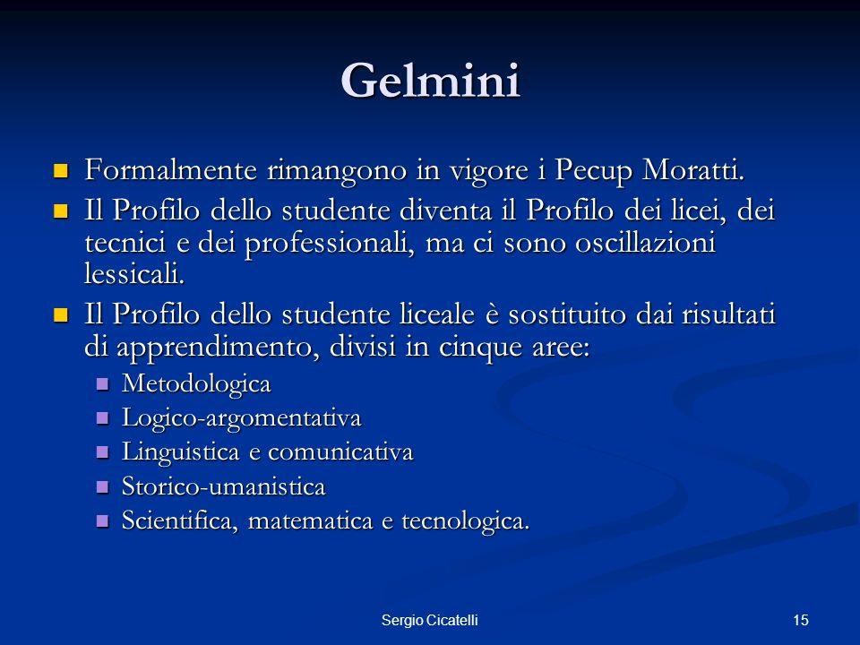 15Sergio Cicatelli Gelmini Formalmente rimangono in vigore i Pecup Moratti. Formalmente rimangono in vigore i Pecup Moratti. Il Profilo dello studente