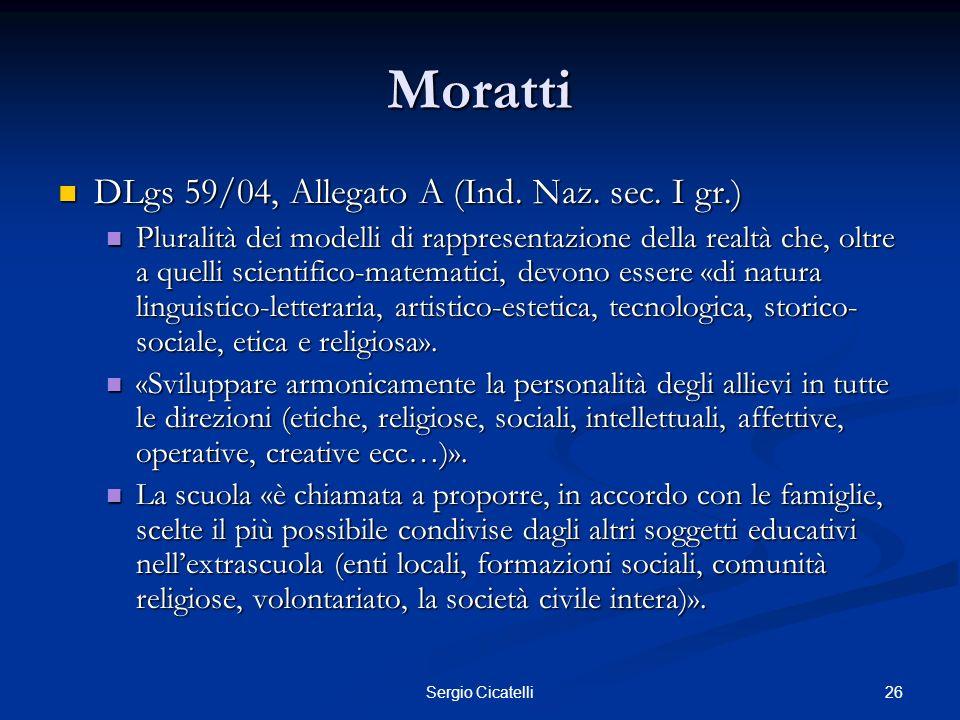 26Sergio Cicatelli Moratti DLgs 59/04, Allegato A (Ind. Naz. sec. I gr.) DLgs 59/04, Allegato A (Ind. Naz. sec. I gr.) Pluralità dei modelli di rappre