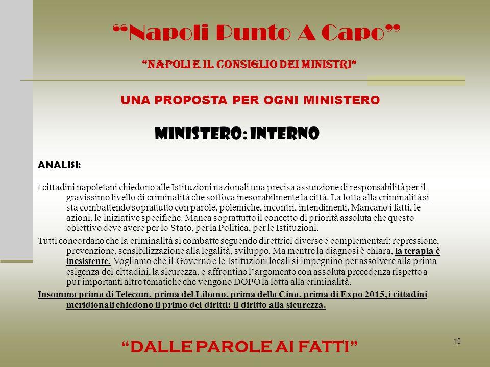 10 Napoli Punto A Capo NAPOLI E IL CONSIGLIO DEI MINISTRI UNA PROPOSTA PER OGNI MINISTERO DALLE PAROLE AI FATTI ANALISI: MINISTERO: INTERNO I cittadin