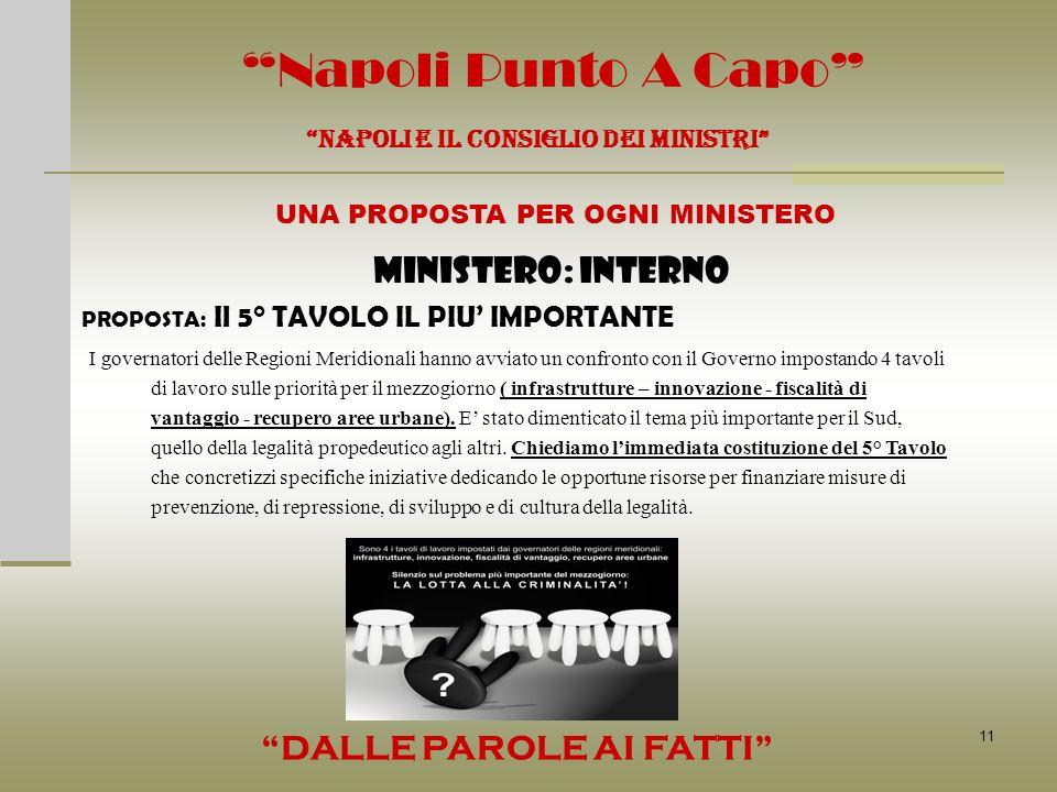 11 Napoli Punto A Capo MINISTERO: INTERNO NAPOLI E IL CONSIGLIO DEI MINISTRI UNA PROPOSTA PER OGNI MINISTERO DALLE PAROLE AI FATTI PROPOSTA: Il 5° TAV