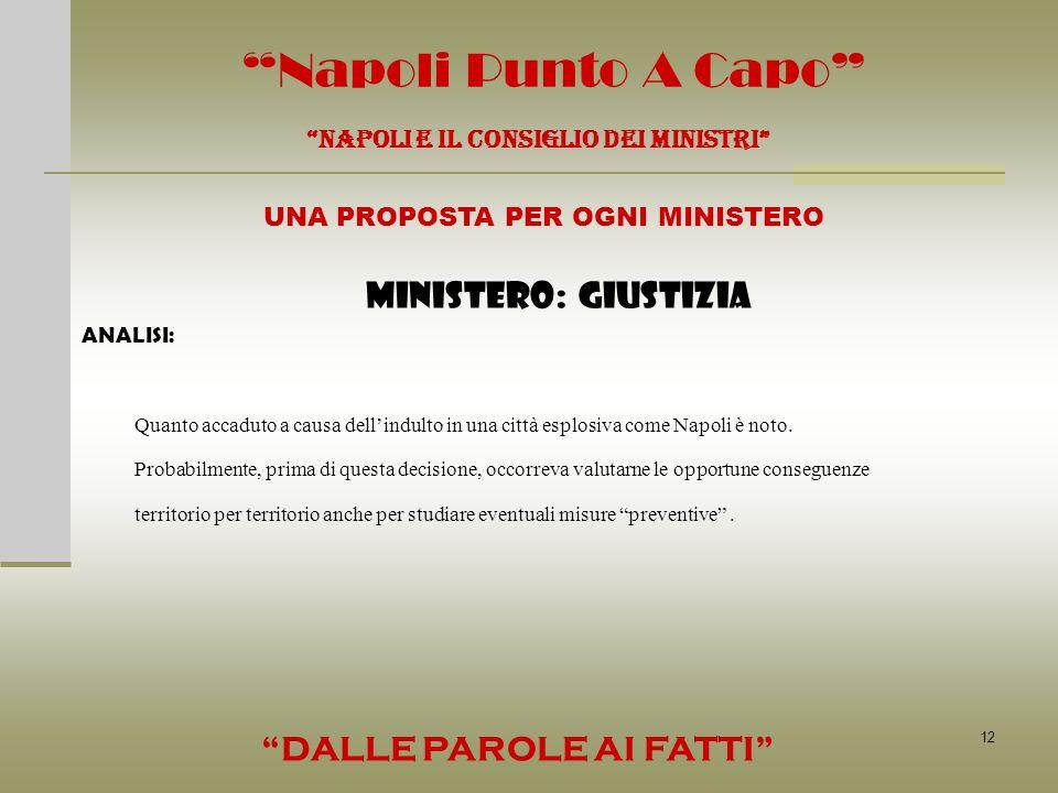 12 Napoli Punto A Capo NAPOLI E IL CONSIGLIO DEI MINISTRI UNA PROPOSTA PER OGNI MINISTERO DALLE PAROLE AI FATTI MINISTERO: GIUSTIZIA ANALISI: Quanto a