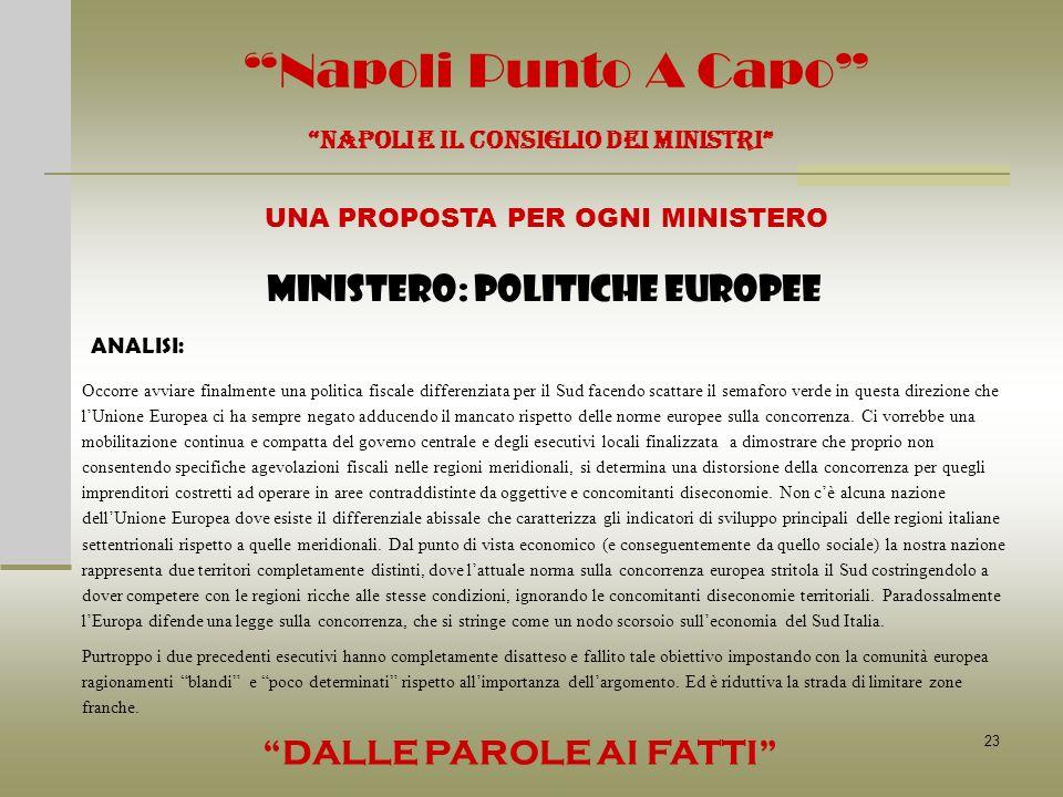 23 Napoli Punto A Capo NAPOLI E IL CONSIGLIO DEI MINISTRI UNA PROPOSTA PER OGNI MINISTERO DALLE PAROLE AI FATTI MINISTERO: POLITICHE EUROPEE ANALISI: