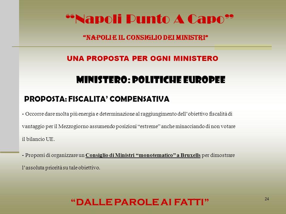 24 Napoli Punto A Capo NAPOLI E IL CONSIGLIO DEI MINISTRI UNA PROPOSTA PER OGNI MINISTERO DALLE PAROLE AI FATTI MINISTERO: POLITICHE EUROPEE PROPOSTA: