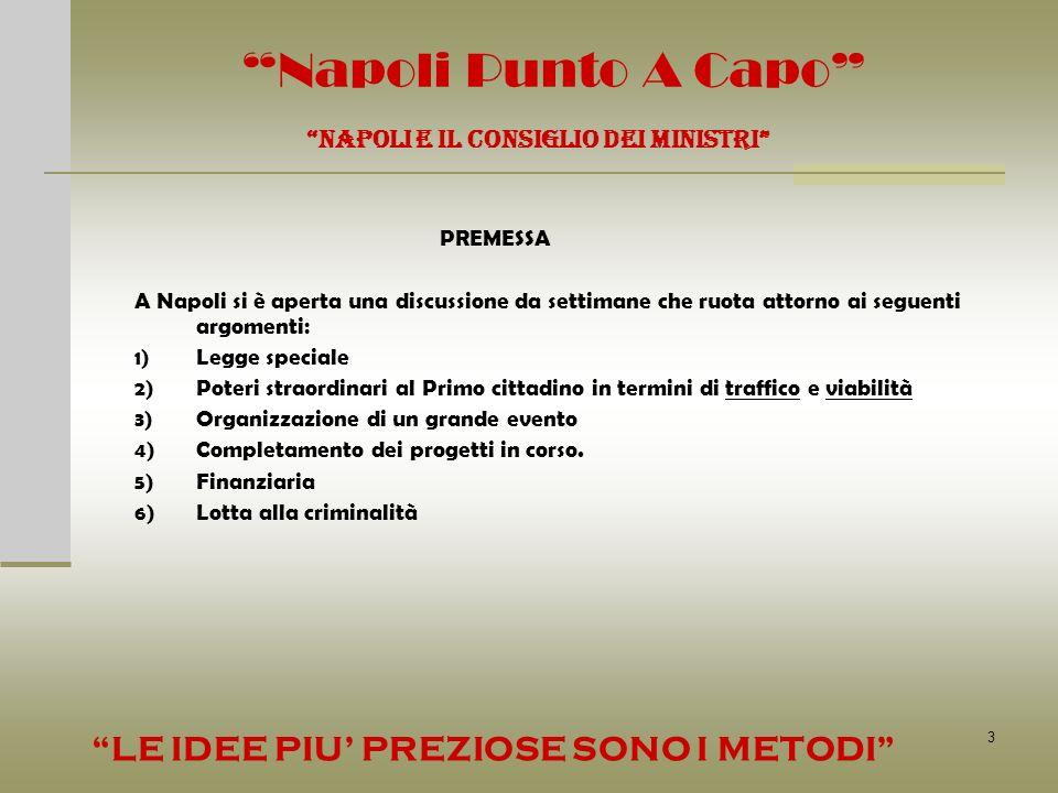 3 Napoli Punto A Capo NAPOLI E IL CONSIGLIO DEI MINISTRI PREMESSA A Napoli si è aperta una discussione da settimane che ruota attorno ai seguenti argo