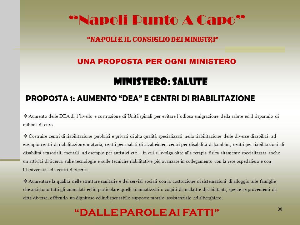 38 Napoli Punto A Capo NAPOLI E IL CONSIGLIO DEI MINISTRI UNA PROPOSTA PER OGNI MINISTERO DALLE PAROLE AI FATTI MINISTERO: SALUTE PROPOSTA 1: AUMENTO