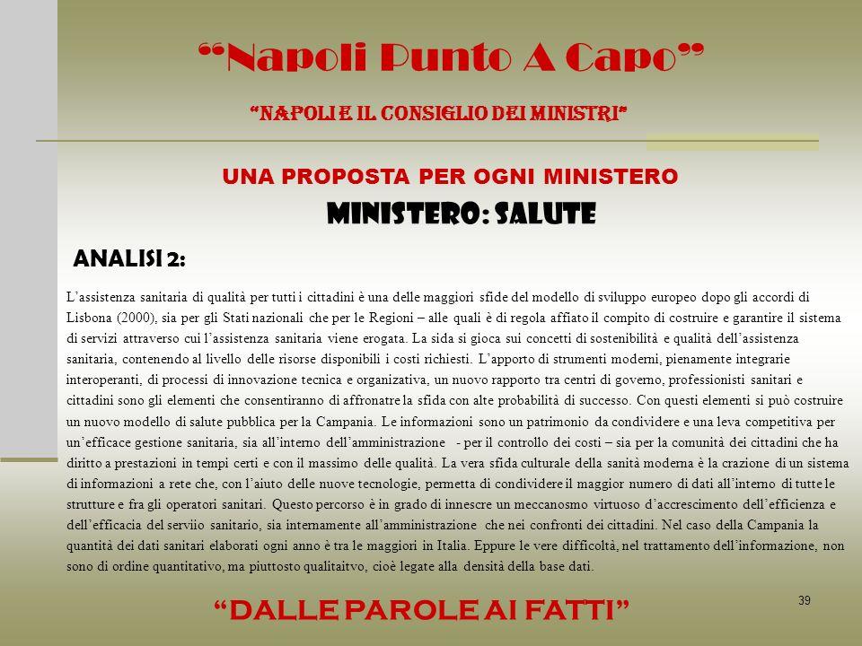 39 Napoli Punto A Capo NAPOLI E IL CONSIGLIO DEI MINISTRI UNA PROPOSTA PER OGNI MINISTERO DALLE PAROLE AI FATTI MINISTERO: SALUTE ANALISI 2: Lassisten