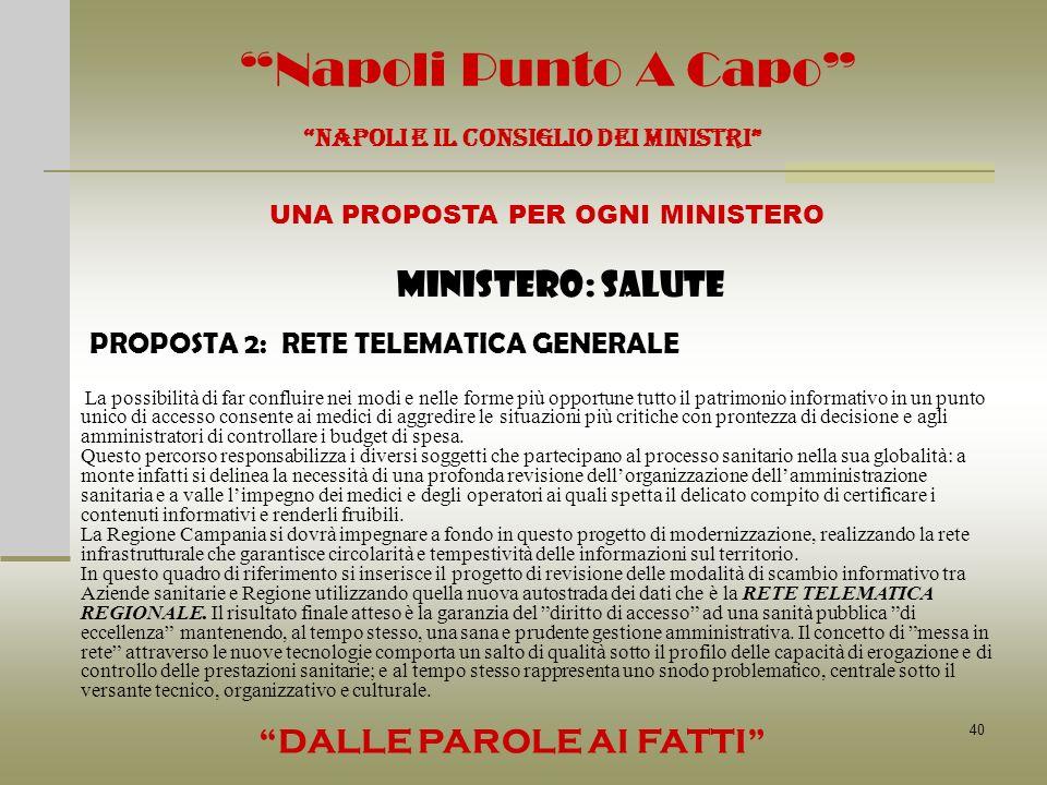 40 Napoli Punto A Capo NAPOLI E IL CONSIGLIO DEI MINISTRI UNA PROPOSTA PER OGNI MINISTERO DALLE PAROLE AI FATTI MINISTERO: SALUTE PROPOSTA 2: RETE TEL
