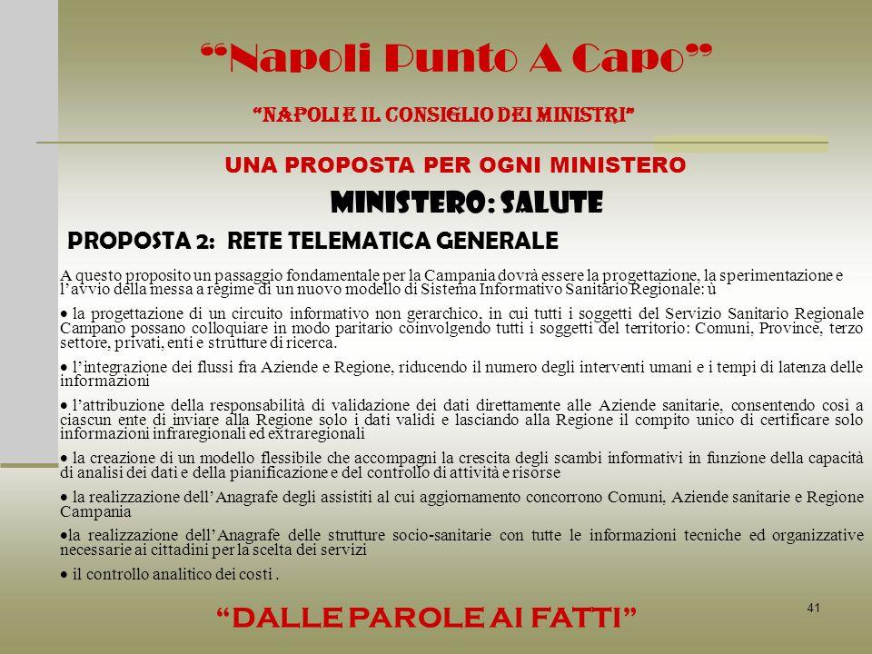 41 Napoli Punto A Capo NAPOLI E IL CONSIGLIO DEI MINISTRI UNA PROPOSTA PER OGNI MINISTERO DALLE PAROLE AI FATTI MINISTERO: SALUTE PROPOSTA 2: RETE TEL