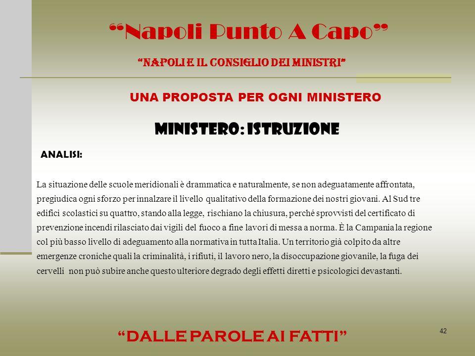 42 Napoli Punto A Capo NAPOLI E IL CONSIGLIO DEI MINISTRI UNA PROPOSTA PER OGNI MINISTERO DALLE PAROLE AI FATTI MINISTERO: ISTRUZIONE ANALISI: La situ
