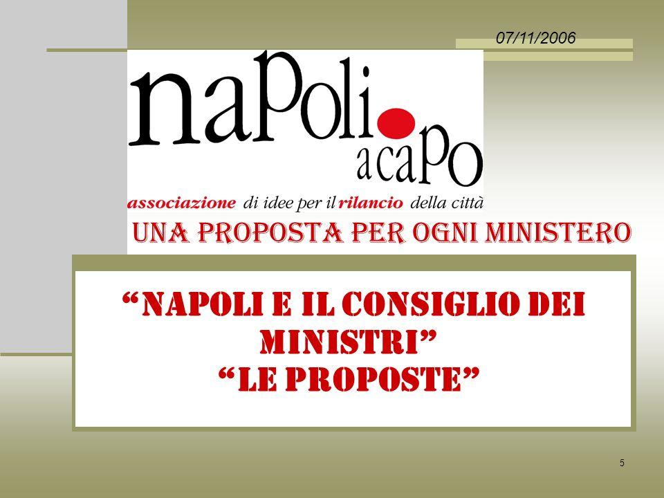 5 NAPOLI E IL CONSIGLIO DEI MINISTRI LE PROPOSTE 07/11/2006 UNA PROPOSTA PER OGNI MINISTERO