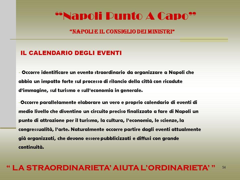 54 Napoli Punto A Capo NAPOLI E IL CONSIGLIO DEI MINISTRI IL CALENDARIO DEGLI EVENTI - Occorre identificare un evento straordinario da organizzare a N