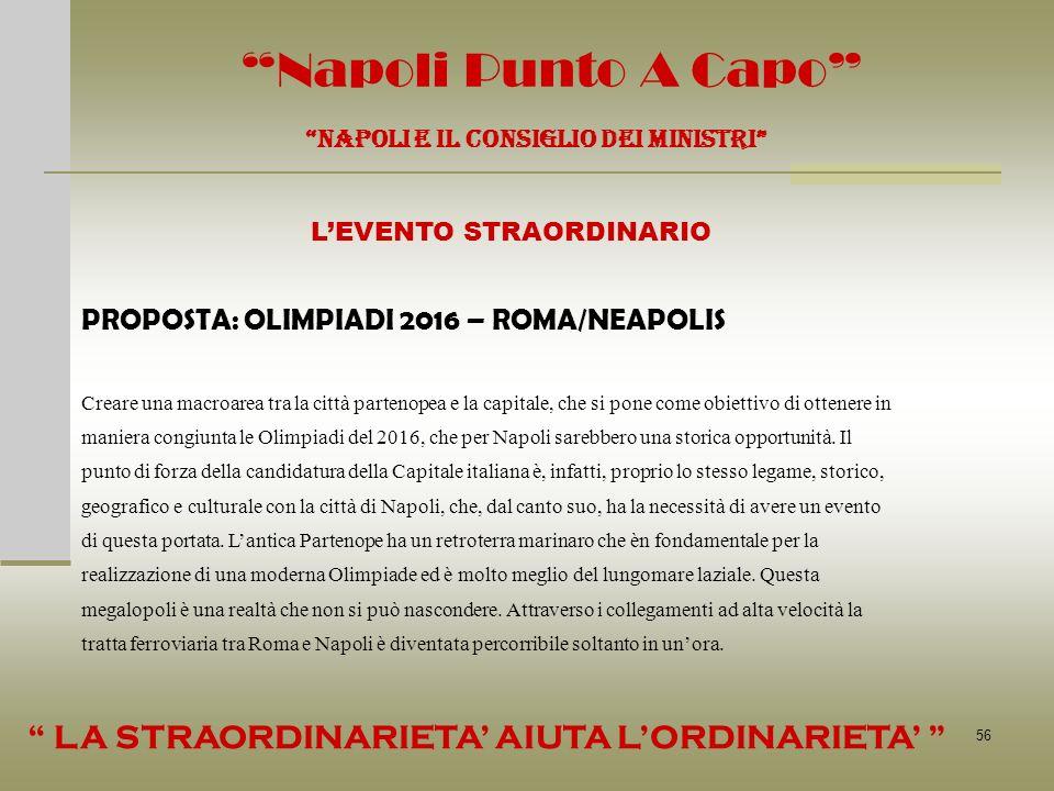 56 Napoli Punto A Capo NAPOLI E IL CONSIGLIO DEI MINISTRI LEVENTO STRAORDINARIO Creare una macroarea tra la città partenopea e la capitale, che si pon