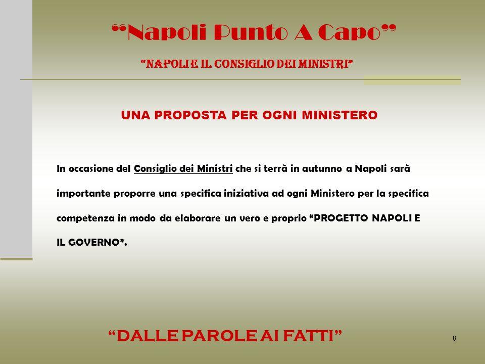 8 Napoli Punto A Capo NAPOLI E IL CONSIGLIO DEI MINISTRI UNA PROPOSTA PER OGNI MINISTERO In occasione del Consiglio dei Ministri che si terrà in autun