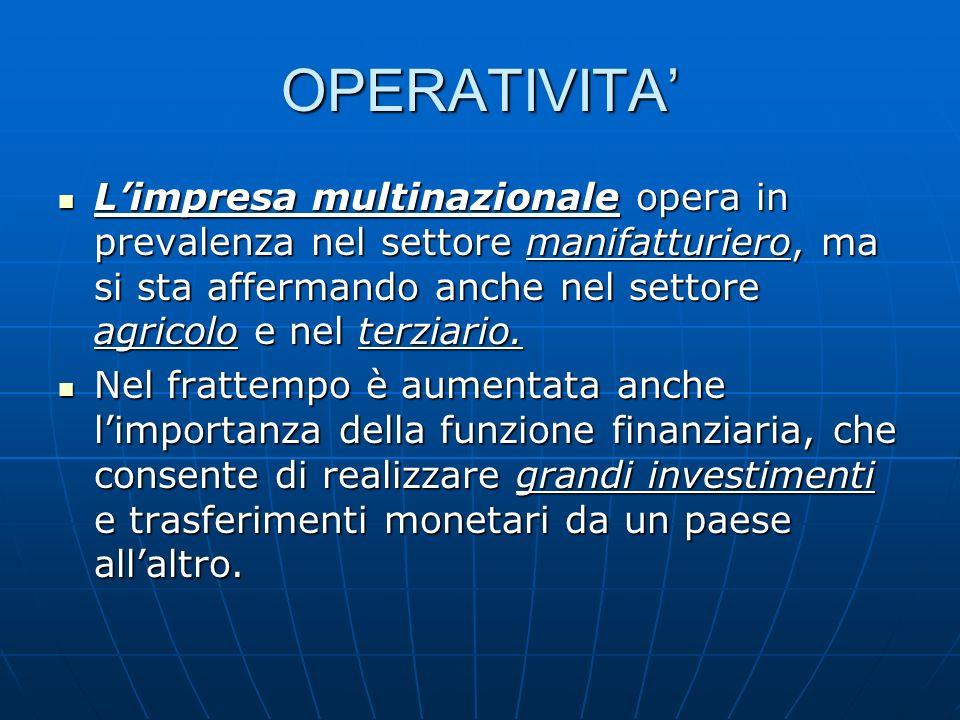 OPERATIVITA Limpresa multinazionale opera in prevalenza nel settore manifatturiero, ma si sta affermando anche nel settore agricolo e nel terziario. L
