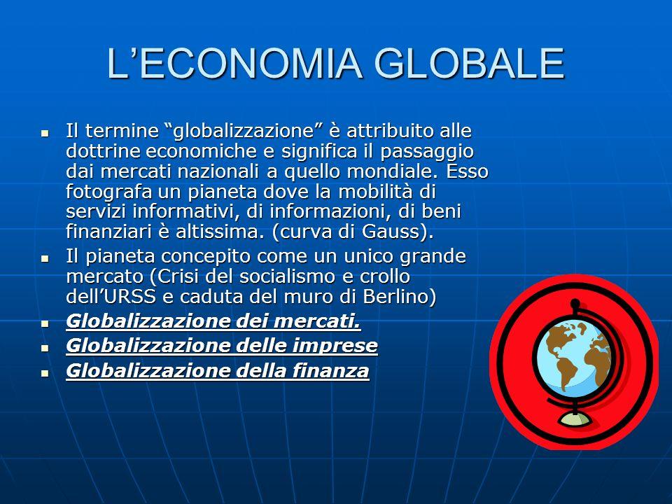 LECONOMIA GLOBALE Il termine globalizzazione è attribuito alle dottrine economiche e significa il passaggio dai mercati nazionali a quello mondiale. E
