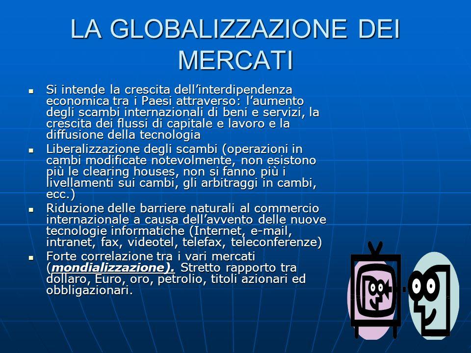 LA GLOBALIZZAZIONE DEI MERCATI Si intende la crescita dellinterdipendenza economica tra i Paesi attraverso: laumento degli scambi internazionali di be