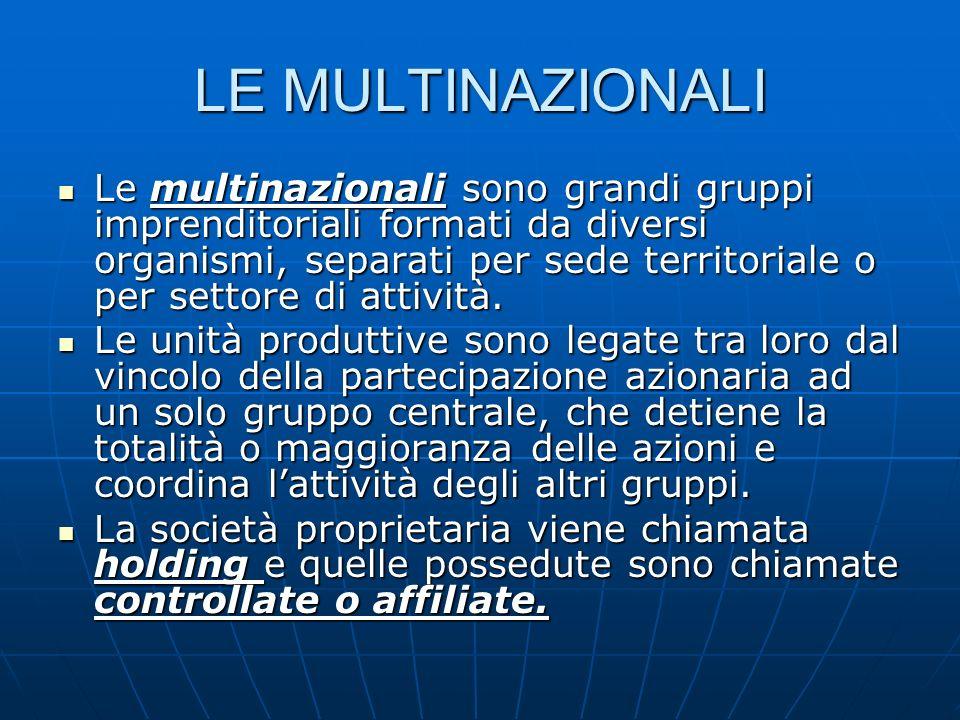 LE MULTINAZIONALI Le multinazionali sono grandi gruppi imprenditoriali formati da diversi organismi, separati per sede territoriale o per settore di a