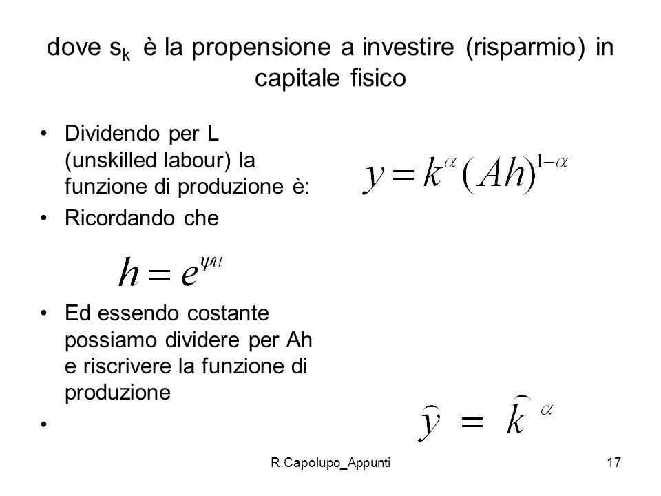 R.Capolupo_Appunti17 dove s k è la propensione a investire (risparmio) in capitale fisico Dividendo per L (unskilled labour) la funzione di produzione