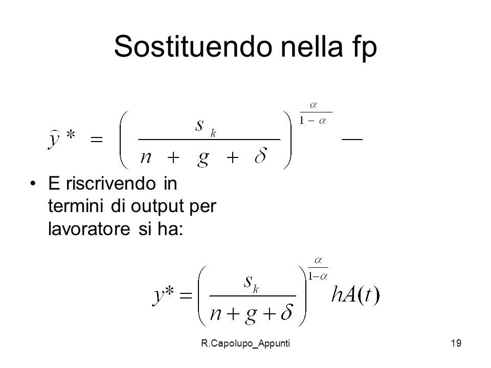 R.Capolupo_Appunti19 Sostituendo nella fp E riscrivendo in termini di output per lavoratore si ha: