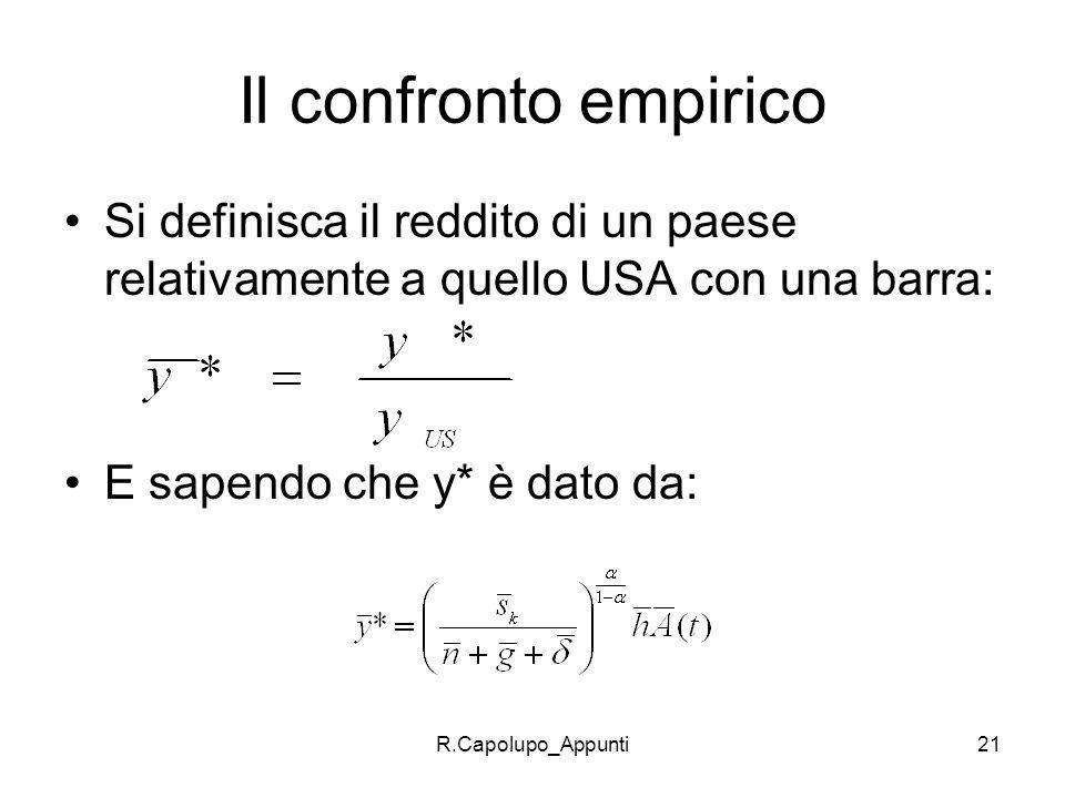R.Capolupo_Appunti21 Il confronto empirico Si definisca il reddito di un paese relativamente a quello USA con una barra: E sapendo che y* è dato da: