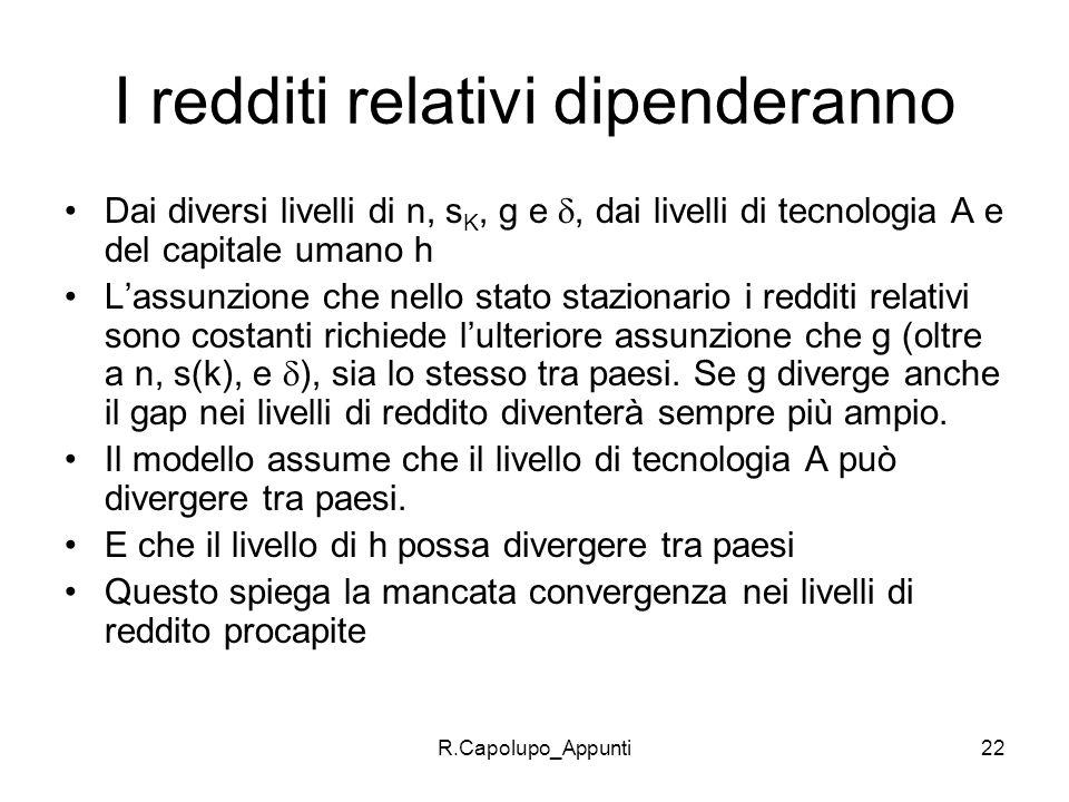 R.Capolupo_Appunti22 I redditi relativi dipenderanno Dai diversi livelli di n, s K, g e, dai livelli di tecnologia A e del capitale umano h Lassunzion