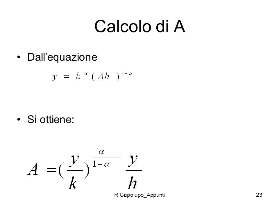 R.Capolupo_Appunti23 Calcolo di A Dallequazione Si ottiene: