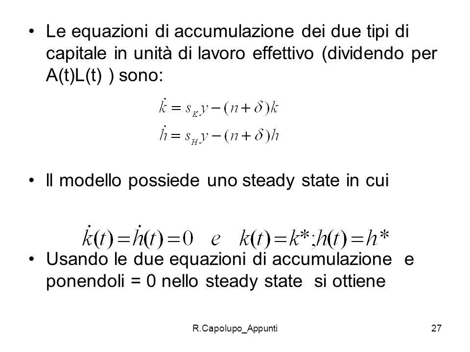 R.Capolupo_Appunti27 Le equazioni di accumulazione dei due tipi di capitale in unità di lavoro effettivo (dividendo per A(t)L(t) ) sono: ll modello po