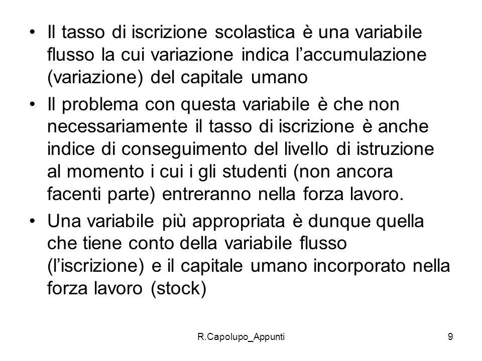 R.Capolupo_Appunti9 Il tasso di iscrizione scolastica è una variabile flusso la cui variazione indica laccumulazione (variazione) del capitale umano I