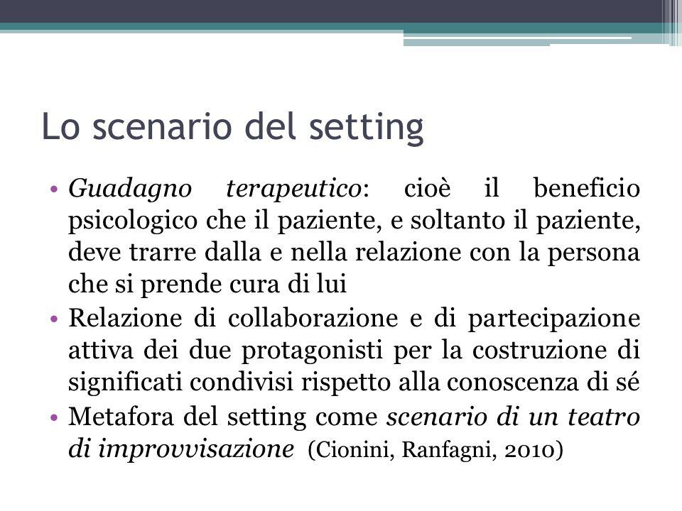 Lo scenario del setting Guadagno terapeutico: cioè il beneficio psicologico che il paziente, e soltanto il paziente, deve trarre dalla e nella relazio