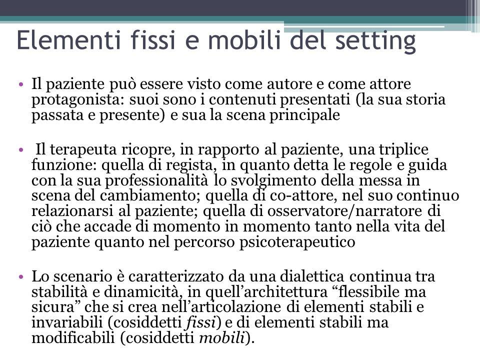 Elementi fissi e mobili del setting Il paziente può essere visto come autore e come attore protagonista: suoi sono i contenuti presentati (la sua stor