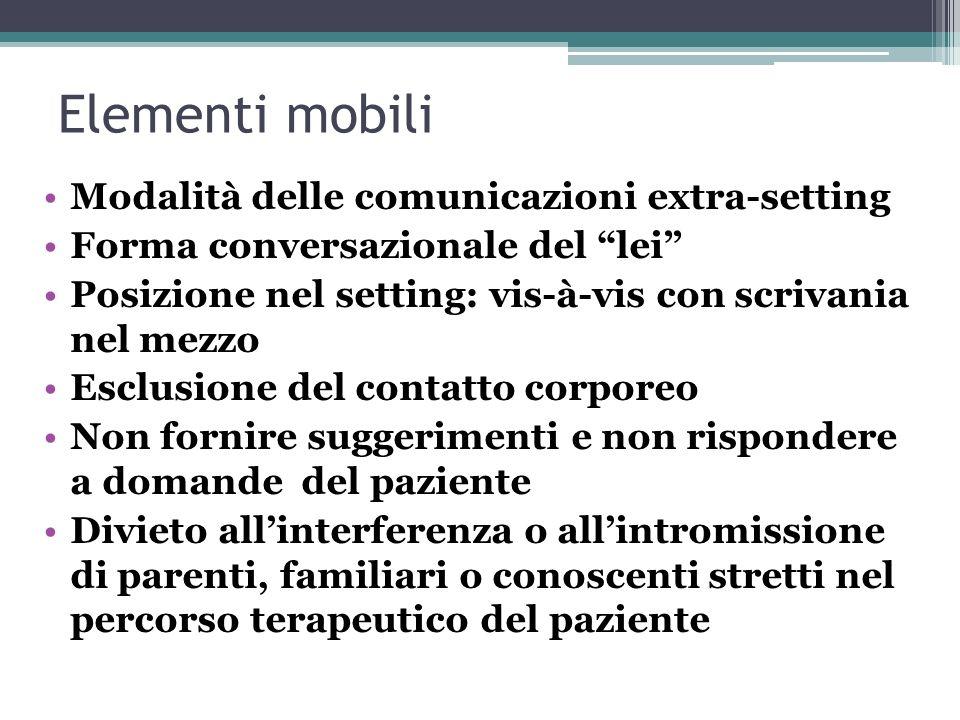 Elementi mobili Modalità delle comunicazioni extra-setting Forma conversazionale del lei Posizione nel setting: vis-à-vis con scrivania nel mezzo Escl