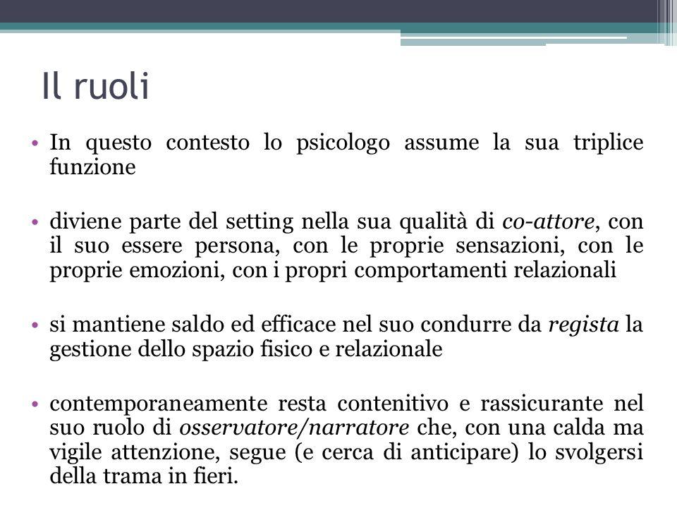 Il ruoli In questo contesto lo psicologo assume la sua triplice funzione diviene parte del setting nella sua qualità di co-attore, con il suo essere p