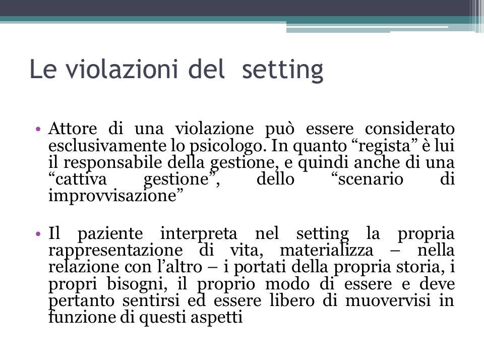 Le violazioni del setting Attore di una violazione può essere considerato esclusivamente lo psicologo. In quanto regista è lui il responsabile della g
