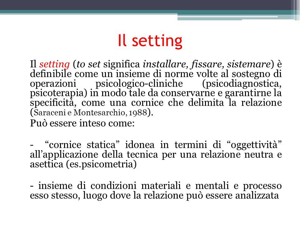 Set e setting Il set comprende il contesto di ambientazione: luogo, periodicità, durata, relazioni che si incontrano, modalità di pagamento; i fattori contrasttuali e le regole che delimitano ed esplicitano la relazione Il setting è fondato sulla teoria di riferimento con cui lo psicologo struttura il set