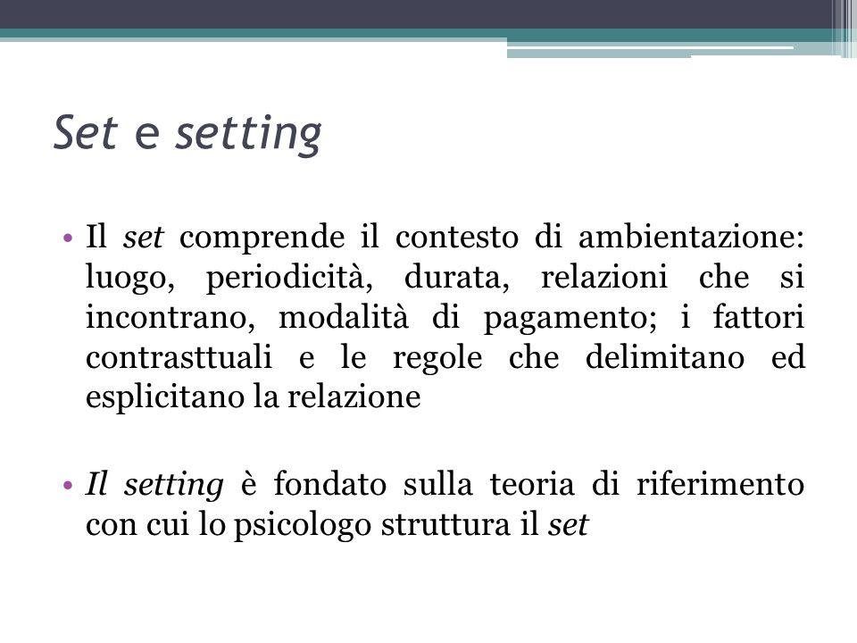 Set e setting Il set comprende il contesto di ambientazione: luogo, periodicità, durata, relazioni che si incontrano, modalità di pagamento; i fattori