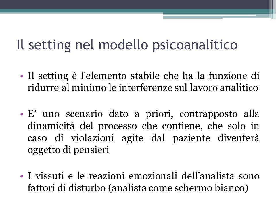 Il setting nel modello psicoanalitico Il setting è lelemento stabile che ha la funzione di ridurre al minimo le interferenze sul lavoro analitico E un