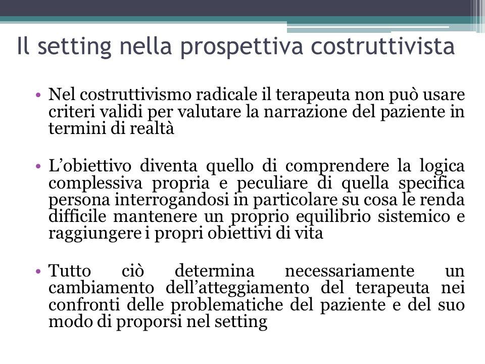Il setting nella prospettiva costruttivista Nel costruttivismo radicale il terapeuta non può usare criteri validi per valutare la narrazione del pazie