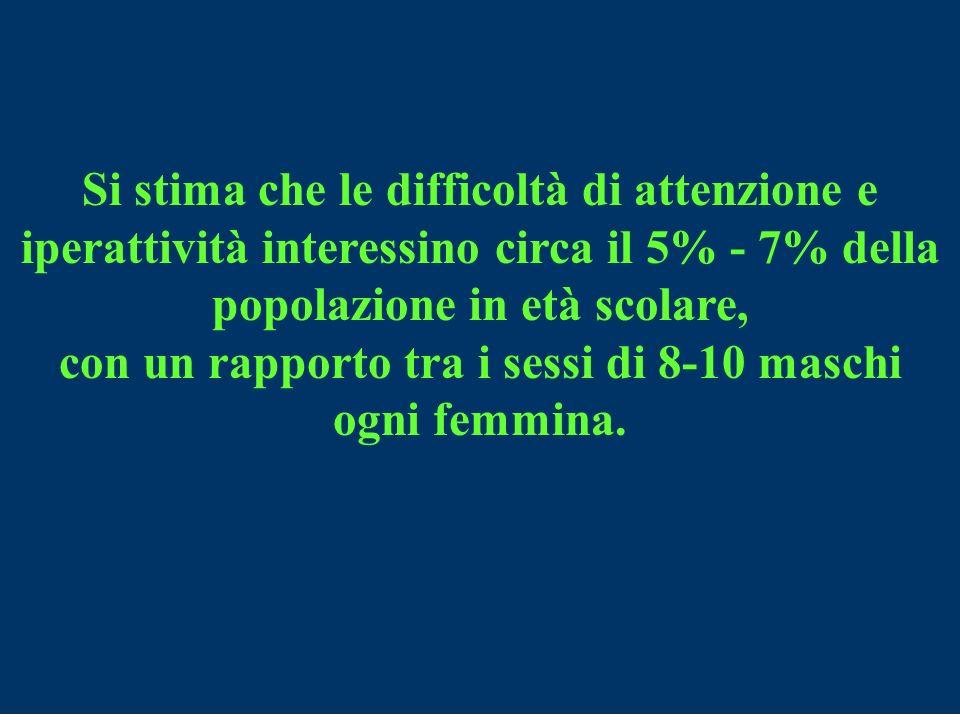 Si stima che le difficoltà di attenzione e iperattività interessino circa il 5% - 7% della popolazione in età scolare, con un rapporto tra i sessi di