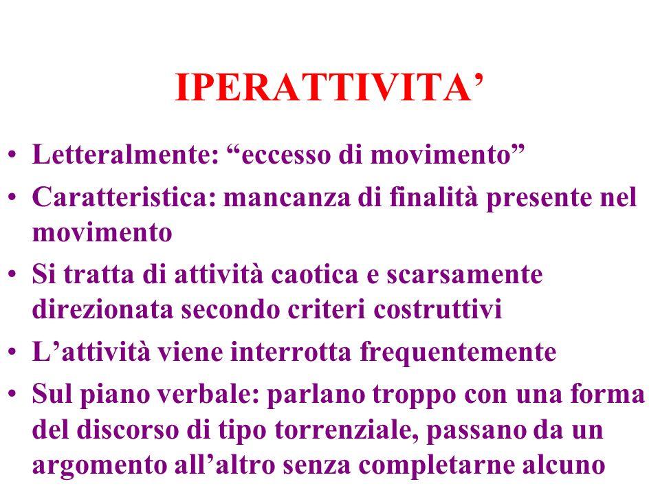 IPERATTIVITA Letteralmente: eccesso di movimento Caratteristica: mancanza di finalità presente nel movimento Si tratta di attività caotica e scarsamen