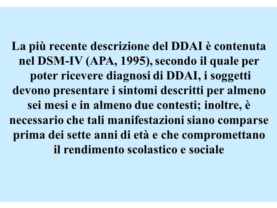 La più recente descrizione del DDAI è contenuta nel DSM-IV (APA, 1995), secondo il quale per poter ricevere diagnosi di DDAI, i soggetti devono presen
