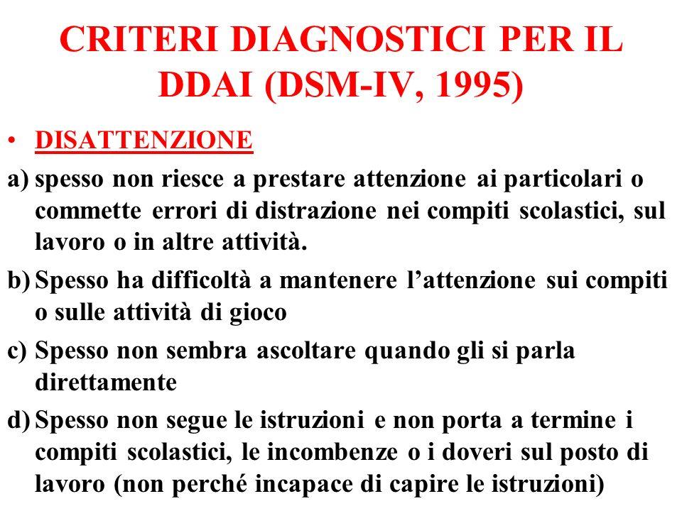 CRITERI DIAGNOSTICI PER IL DDAI (DSM-IV, 1995) DISATTENZIONE a)spesso non riesce a prestare attenzione ai particolari o commette errori di distrazione