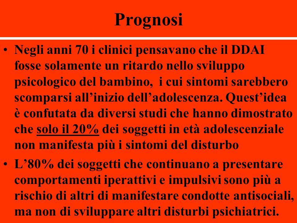 Prognosi Negli anni 70 i clinici pensavano che il DDAI fosse solamente un ritardo nello sviluppo psicologico del bambino, i cui sintomi sarebbero scom