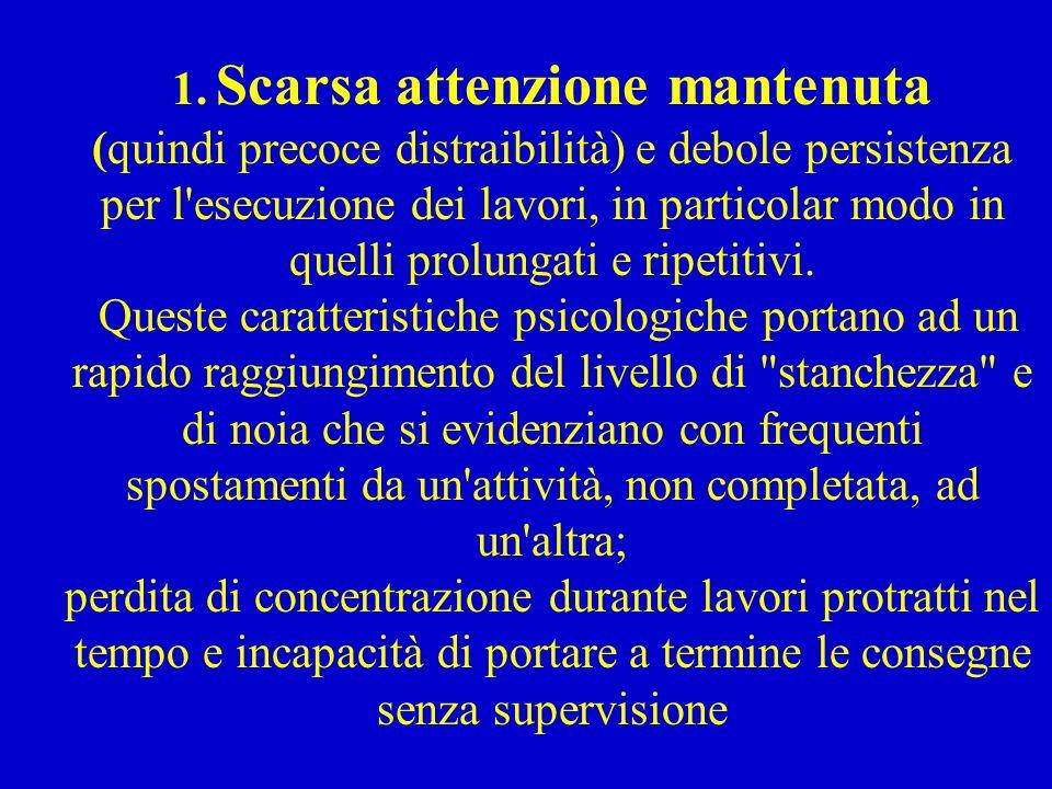 1. Scarsa attenzione mantenuta (quindi precoce distraibilità) e debole persistenza per l'esecuzione dei lavori, in particolar modo in quelli prolungat