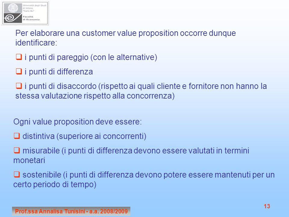 Prof.ssa Annalisa Tunisini - a.a. 2008/2009 13 Per elaborare una customer value proposition occorre dunque identificare: i punti di pareggio (con le a