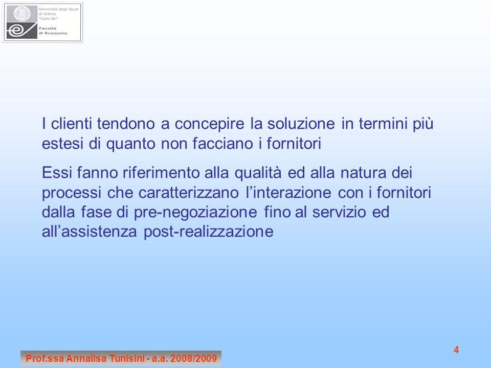 Prof.ssa Annalisa Tunisini - a.a. 2008/2009 4 I clienti tendono a concepire la soluzione in termini più estesi di quanto non facciano i fornitori Essi