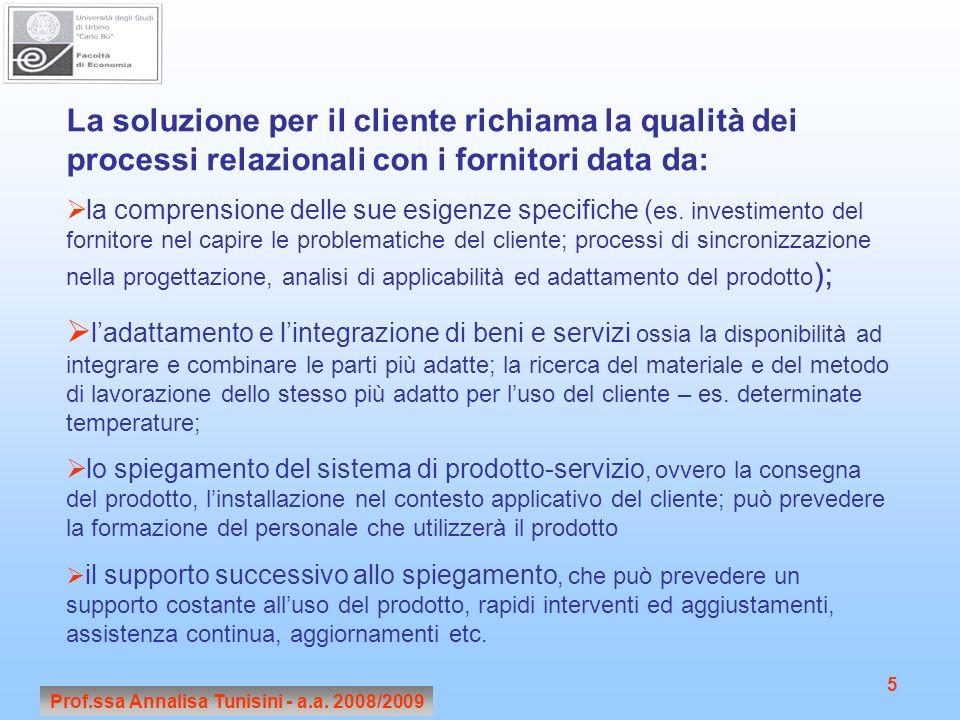 Prof.ssa Annalisa Tunisini - a.a. 2008/2009 5 La soluzione per il cliente richiama la qualità dei processi relazionali con i fornitori data da: la com