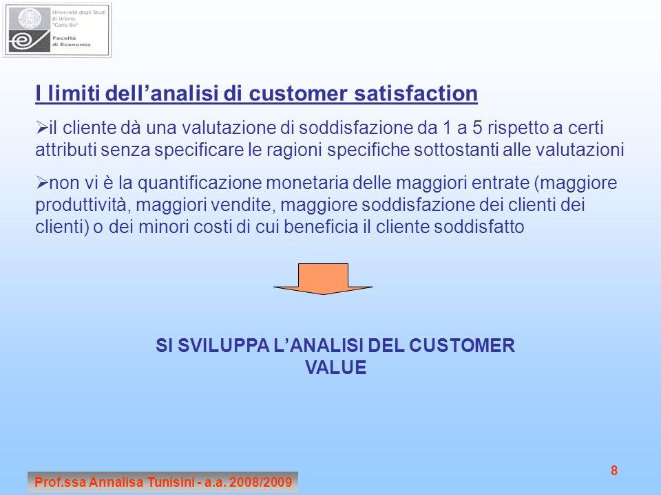 Prof.ssa Annalisa Tunisini - a.a. 2008/2009 8 I limiti dellanalisi di customer satisfaction il cliente dà una valutazione di soddisfazione da 1 a 5 ri