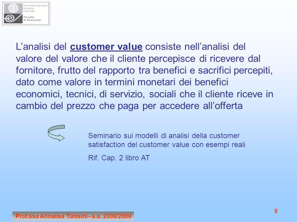Prof.ssa Annalisa Tunisini - a.a. 2008/2009 9 Lanalisi del customer value consiste nellanalisi del valore del valore che il cliente percepisce di rice