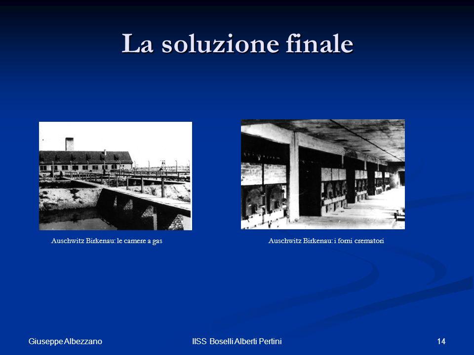 14IISS Boselli Alberti Pertini La soluzione finale Auschwitz Birkenau: le camere a gasAuschwitz Birkenau: i forni crematori Giuseppe Albezzano